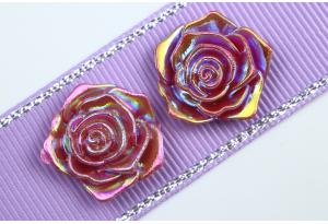 Серединка, роза с перламутром, 19 мм, бургунди