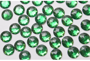 Стразы круглые, 10 мм, зеленые