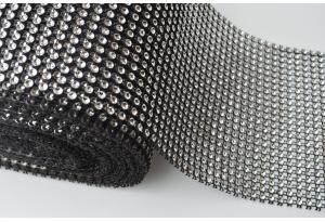 Шина с имитацией страз, ширина 12 см, серебро на черном