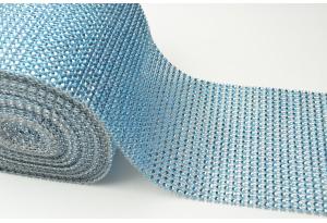 Шина с имитацией страз, ширина 12 см, голубая