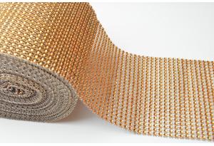 Шина с имитацией страз, ширина 12 см, золотая