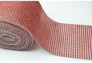 Шина с имитацией страз, ширина 12 см, красная