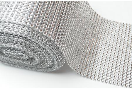 Шина с имитацией страз, ширина 12 см, серебряная