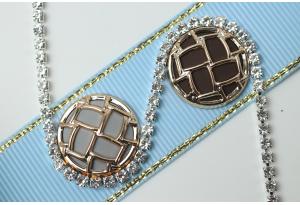Стразовая цепочка SS7, прозрачная, оправа - серебро