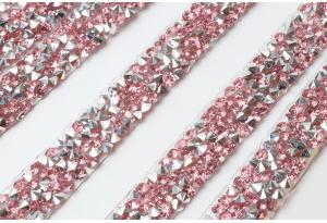 Стразовое термополотно (серебро), 1x40 см, цвет - розовый