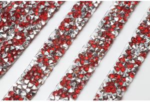 Стразовое термополотно (серебро), 1x40 см, цвет - красный