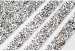 Стразовое термополотно (серебро), 1x40 см, цвет - серебро