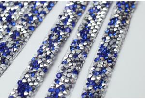 Стразовое термополотно (серебро), 1x40 см, цвет - синий