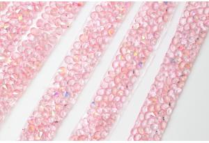 Стразовое термополотно (однотонное), 1x40 см, цвет - розовый