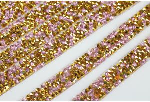 Стразовое термополотно (золото), 1x40 см, цвет - розовый