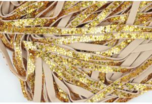 Шнур из экокожи со звездочками, ширина - 7 мм, золото