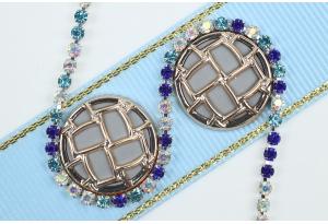 Стразовая цепочка SS7, оправа - серебро, камни - синие, бирюзовые, хамелеон