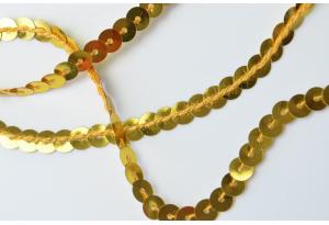 Тесьма пайетки на нитке 6 мм, золото
