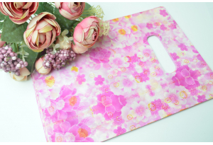 Подарочный пакетик, 25х18 см, полиэтилен, малиновые цветочки