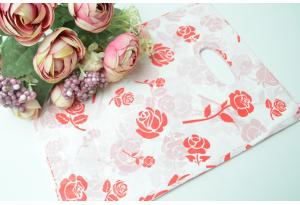 Подарочный пакетик, 25х18 см, полиэтилен, красные розы