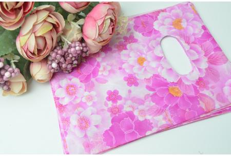 Подарочный пакетик, 18х14 см, полиэтилен, малиновые цветочки