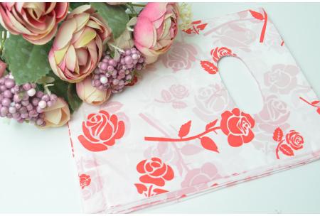 Подарочный пакетик, 18х14 см, полиэтилен, красные розы
