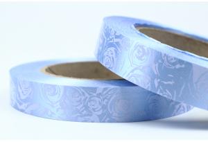 Полипропиленовая лента 2 см, голубая с розами