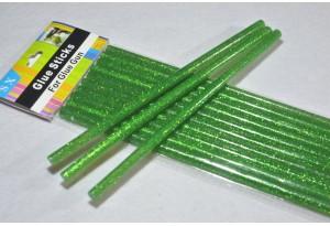 Термоклей 7 мм, зеленый с глиттером, длина 19 см