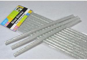 Термоклей 7 мм, серебряный с глиттером, длина 19 см