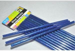 Термоклей 7 мм, синий с глиттером, длина 19 см